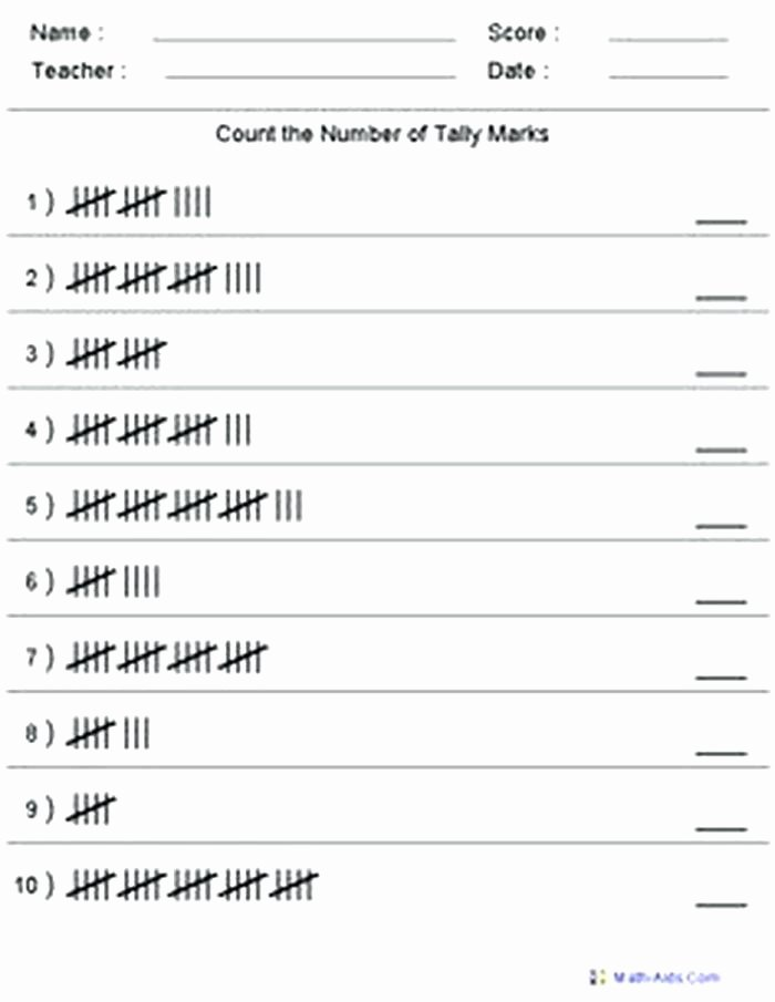 Kindergarten Tally Mark Worksheets Tally Mark Worksheet for Children Worksheets Kids Marks Grade 5