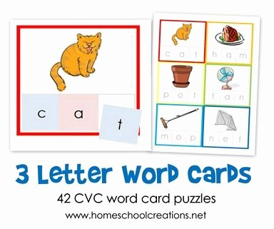 Kindergarten Three Letter Words Worksheets Three Letter Word Cards Free Printable