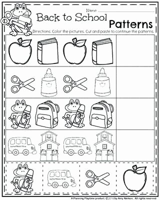Kindergarten Worksheets Cut and Paste Cut and Paste Pattern Worksheets for Kindergarten Back to