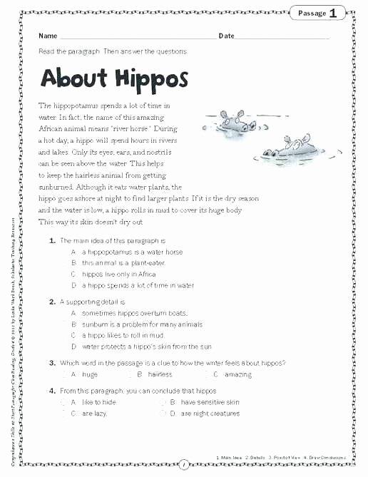 Kindergarten Worksheets Reading Comprehension 4th Grade Prehension Worksheets Printable