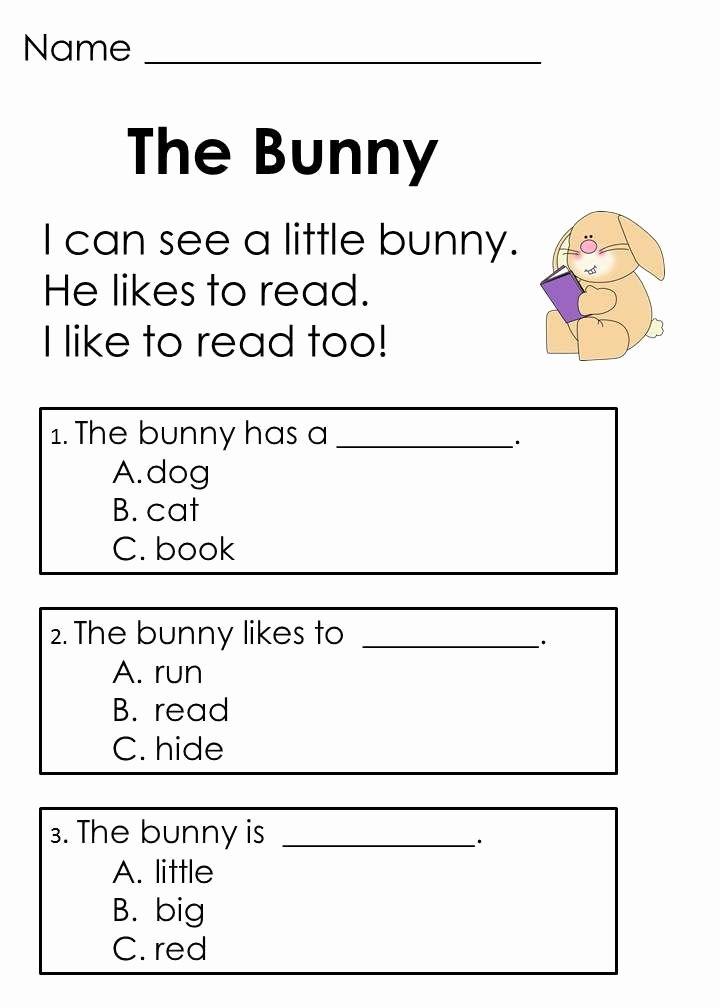 Kindergarten Worksheets Reading Comprehension Easter Reading Passages & Addition Word Problems