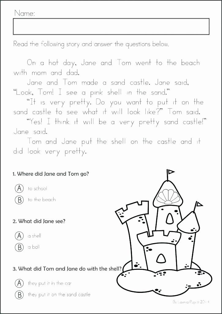 Kindergarten Worksheets Reading Comprehension Free 9th Grade Reading Prehension Worksheets