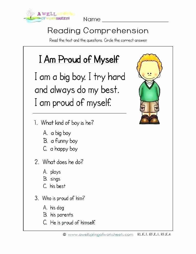 Kindergarten Worksheets Reading Comprehension K Reading Worksheets