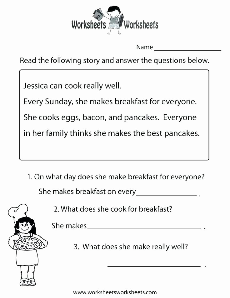 Kindergarten Worksheets Reading Comprehension Kindergarten Reading Skills Worksheets Prehension Grade 1