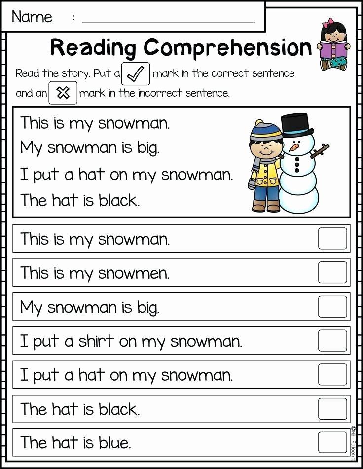 Kindergarten Worksheets Reading Comprehension Sentence Prehension Worksheets Reading Passages is