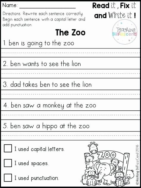 Kindergarten Writing Sentences Worksheets Best Simple Sentences Worksheet Best Simple Sentences