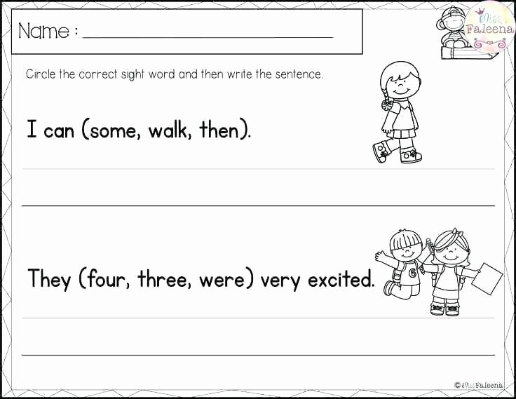 Kindergarten Writing Sentences Worksheets Sight Word Practice Worksheets Kindergarten Grade Sentences