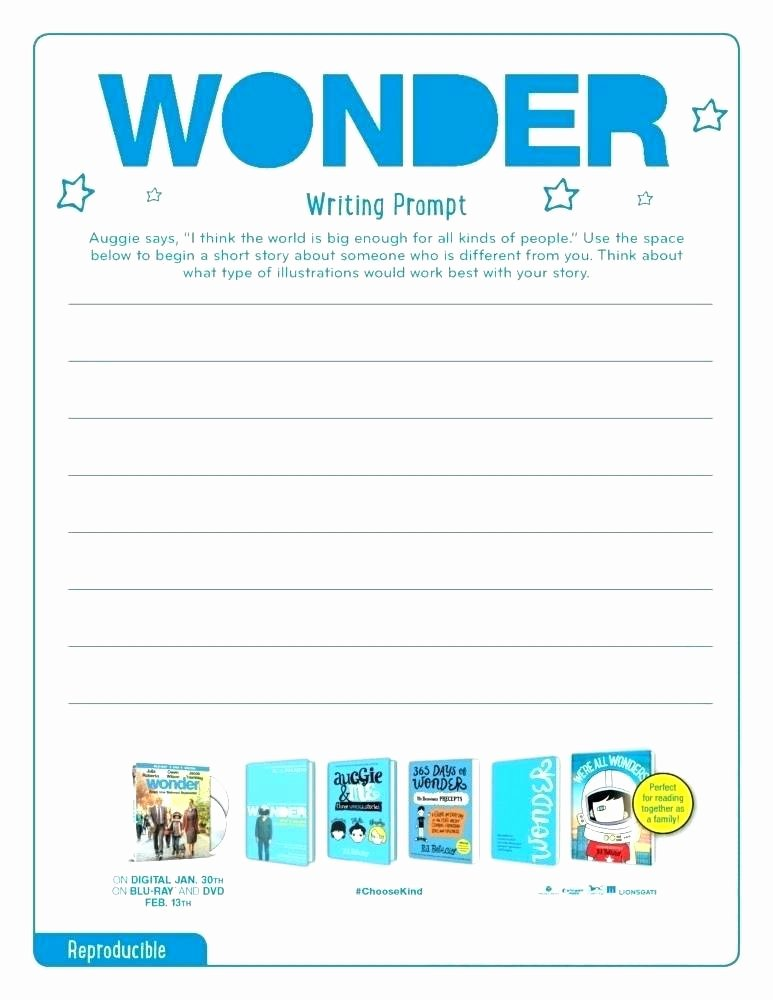 Kindness Worksheets for Elementary Students Best Of Wonder Writing Prompt Movie Activity Sheets Help Kids Spread