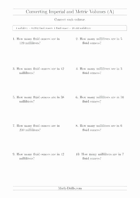 Kitchen Equivalents Worksheet Answers Metric Unit Conversion Worksheet – ispe Indonesia