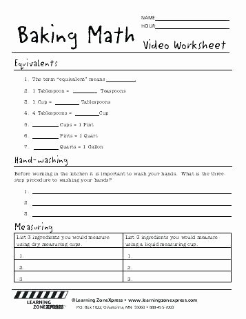 Kitchen Math Measuring Answers Middle School Measurement Worksheets