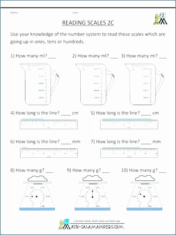 Kitchen Math Measuring Worksheet 4th Grade Math Measurement Worksheets