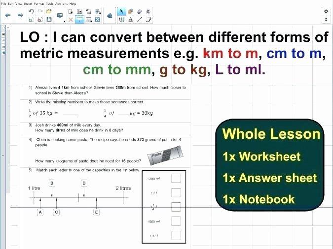 Kitchen Math Measuring Worksheet Conversion Of Units English to Metric – Papakambing