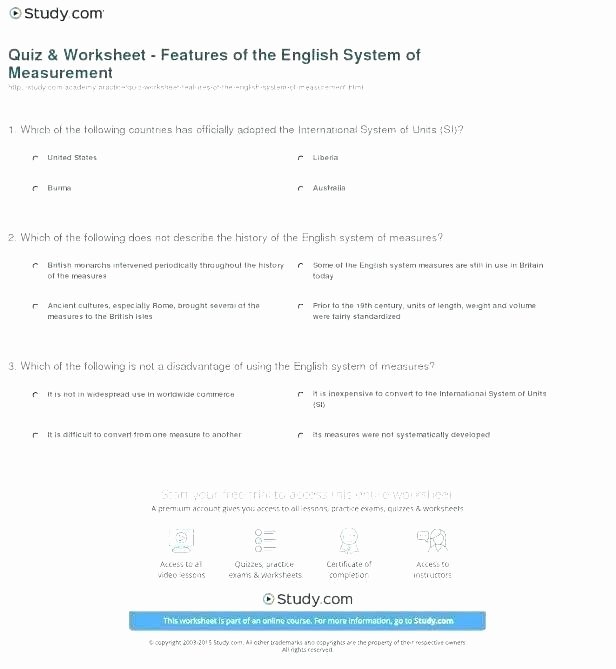 Kitchen Math Measuring Worksheet English Metric System Chart – Trubs
