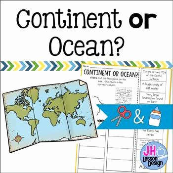 Label Continents and Oceans Printable Oceans and Continents Cut and Paste Worksheets & Teaching