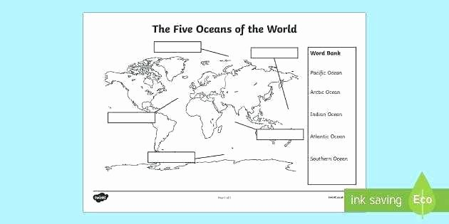 Label Continents and Oceans Worksheets Identify Continents and Oceans Worksheet