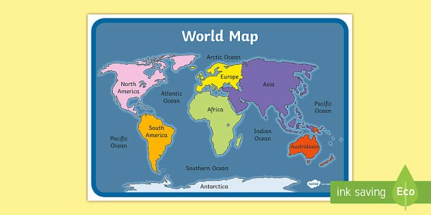 Label the Continents Worksheets World Map with Names Continent and Ocean