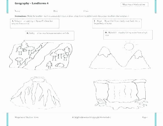 Landforms Worksheet for Kindergarten Free Printable Landform Worksheets