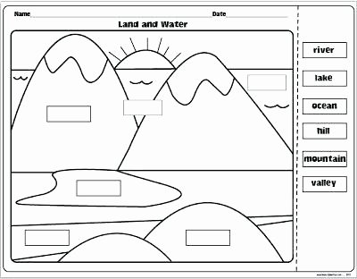 Landforms Worksheet for Kindergarten Worksheets Grade Landform Map Worksheets 2nd Grade Landform