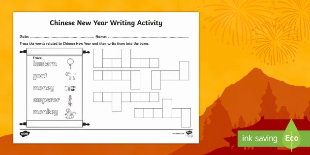 Learning Chinese Worksheets Free Chinese New Year Writing Worksheet Worksheet