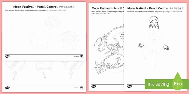 Learning Chinese Worksheets Moon Festival Pencil Control Worksheets English Mandarin Chinese