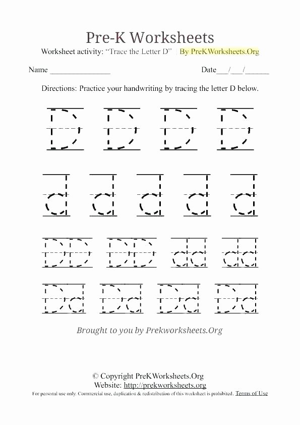 Letter D Worksheet Preschool Free Printable Tracing Letter D Worksheet K R Worksheets for