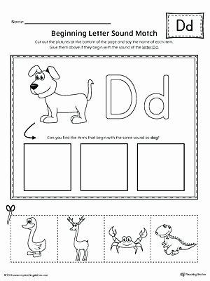 Letter D Worksheet Preschool Letter D Beginning sound Picture Match Worksheet Free Letter