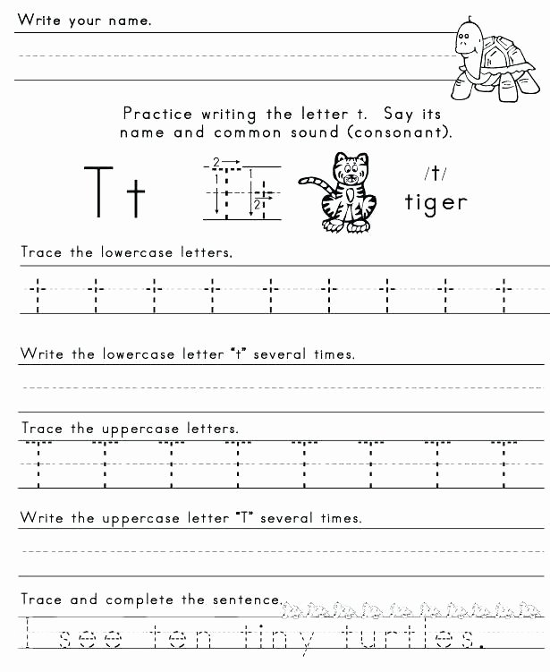 Letter G Tracing Worksheets Preschool Letter T Worksheets for Kindergarten formation Free the