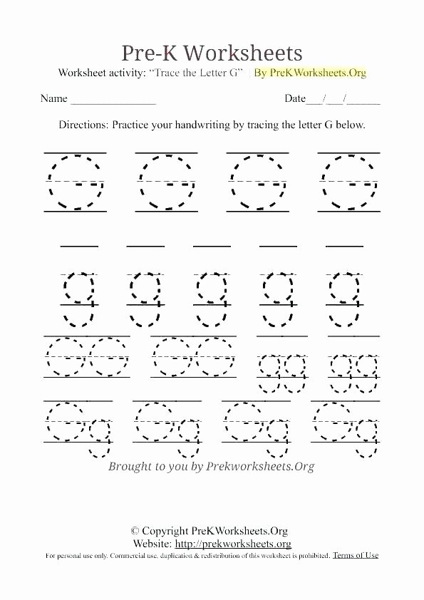 Letter G Tracing Worksheets Preschool Tracing and Writing Letter U Worksheet Worksheets Preschool for