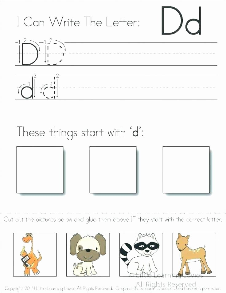 Letter G Worksheets for Kindergarten Letter D Preschool Worksheets
