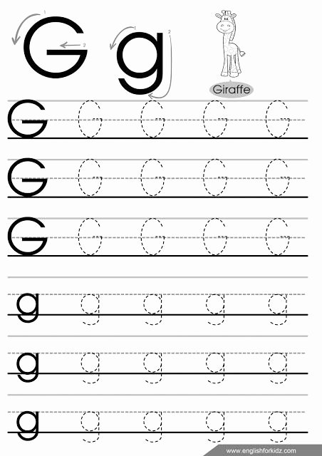 Letter G Worksheets for Kindergarten Letter G Tracing Paper