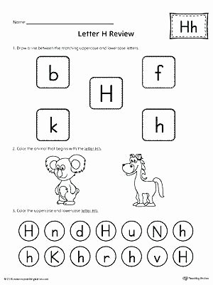 Letter H Tracing Pages Preschool Letter Review Worksheets Free for Alphabet