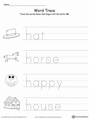 Letter H Worksheets for Kindergarten Words Starting with Letter H Phonics