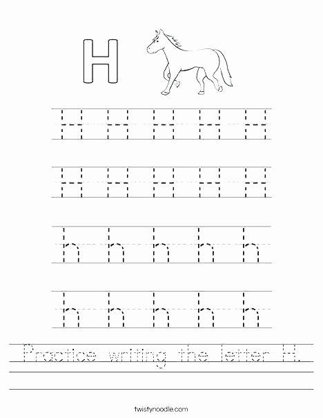 Letter H Worksheets for Preschool Practice Calligraphy Worksheets