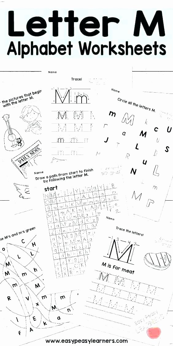 Letter K Tracing Worksheets Preschool Free Alphabet Worksheets for Kindergarten Tracing Letter M