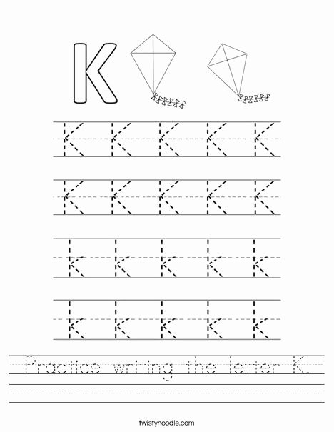 Letter K Tracing Worksheets Preschool Practice Writing the Letter K Worksheet Twisty Noodle