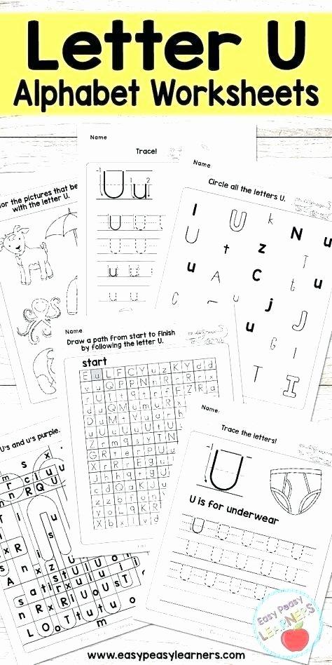 Letter M Worksheets for Preschoolers Letter U Worksheets for K Tracing Kindergarten Free