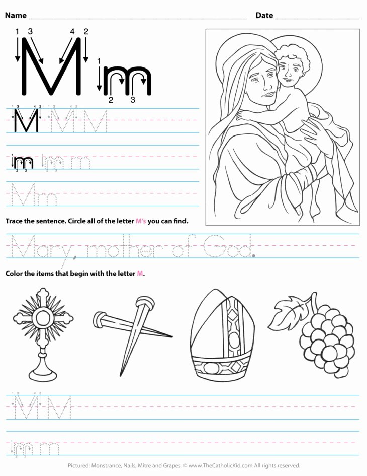 Letter M Worksheets for toddlers the Catholic Kid Catholic Coloring Pages and Games for
