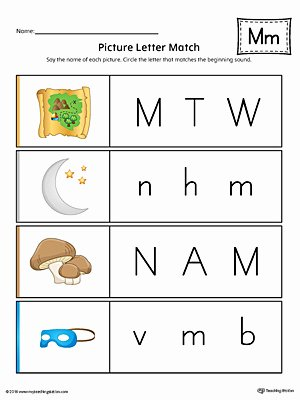 Letter M Worksheets Kindergarten Picture Letter Match Letter M Worksheet Color