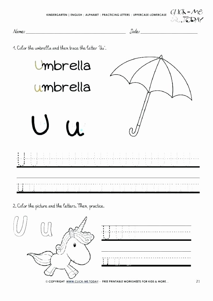 Letter M Worksheets Preschool Letter U Worksheets for Preschool