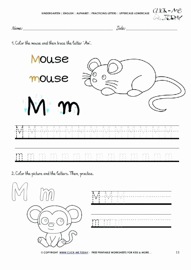 Letter M Worksheets Preschool M Worksheets for Kindergarten