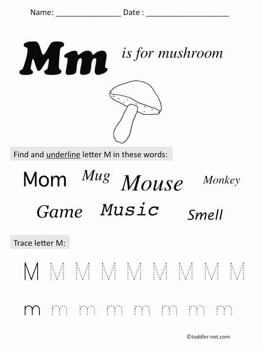 Letter M Worksheets Preschool Preschool Worksheets with Letter M
