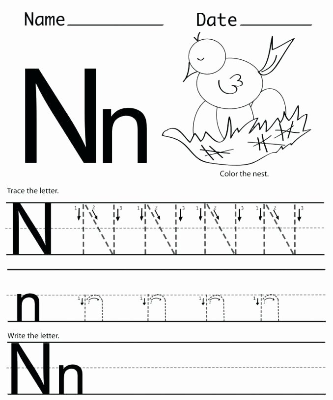 Letter N Tracing Worksheets Preschool Letter N Worksheets