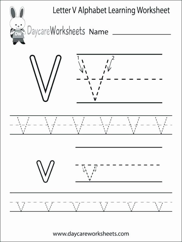 Letter N Tracing Worksheets Preschool Letter V Printable Worksheets