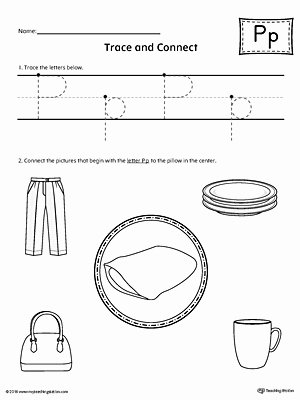 Letter P Tracing Worksheets Trace Letter P and Connect Worksheet