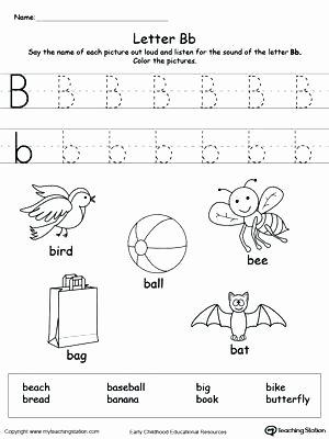 Letter P Worksheets Preschool Letter B Worksheets Kindergarten Words Starting with Letter