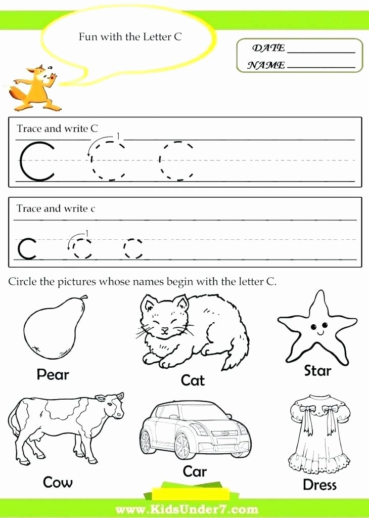 Letter Recognition Worksheets for Kindergarten Letter C Worksheets Free