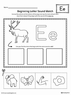 Letter sound Recognition Worksheets Short Letter E Beginning sound Picture Match Worksheet