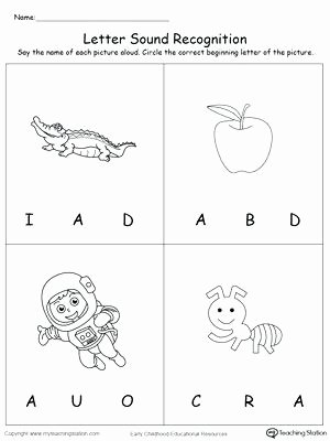 Letter sound Recognition Worksheets Uppercase Beginning Letter sound D B F C A 1 Page Worksheet
