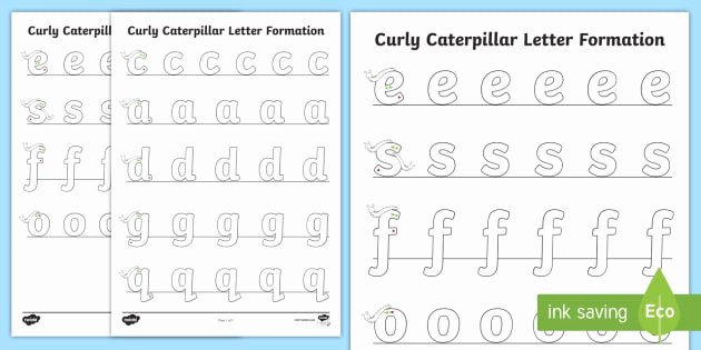 Letter Tracing Worksheets Az Curly Caterpillar Letter formation Worksheet Worksheet
