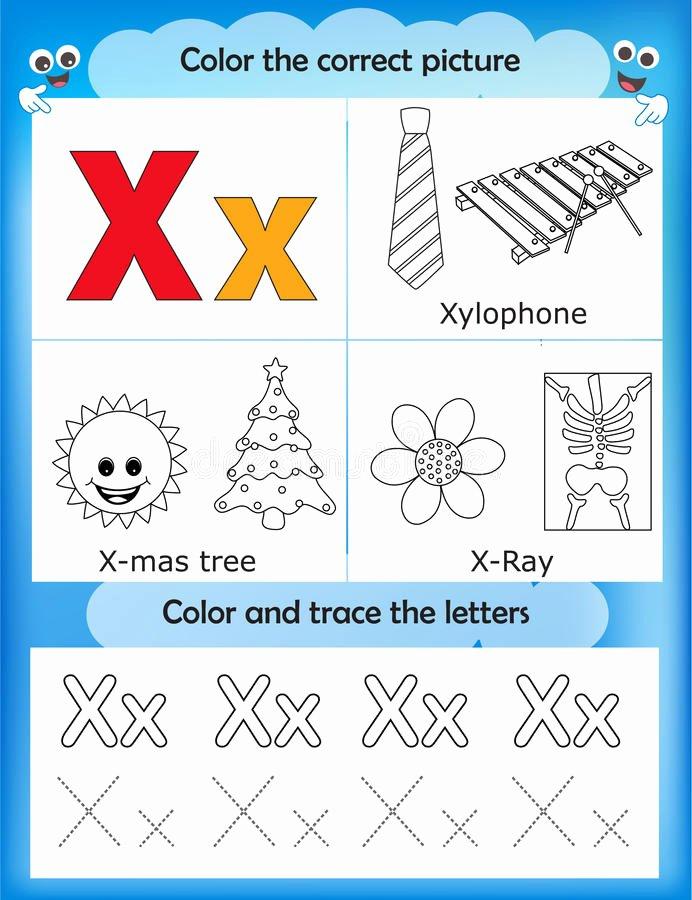 Letter X Worksheets for Kindergarten Alphabet Learning and Color Letter D Stock Illustration